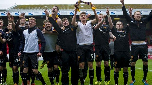 Motherwell celebrate finishing second in the Scottish Premiership