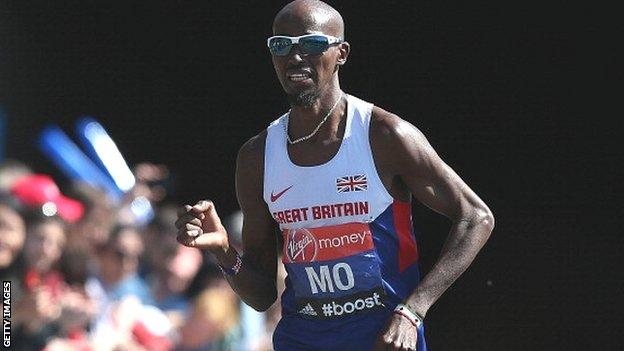 Mo Farah running for Great Britain
