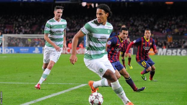 Virgil van Dijk in action for Celtic against Barcelona