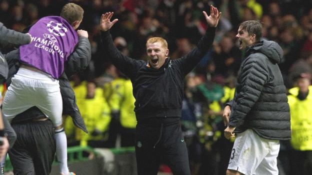 Neil Lennon celebrates Tony Watt's goal against Barcelona on 2012