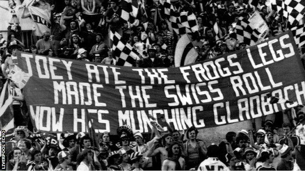 Liverpool fans' tribute to Joey Jones at the 1977 Euopean Cup final