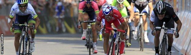 Nacer Bouhanni (centre) wins his third stage of this year's race