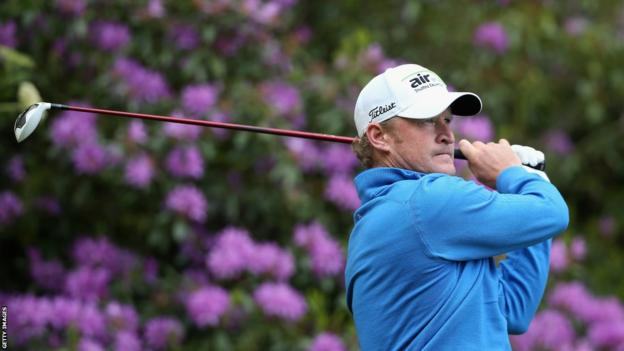 Jamie Donaldson tees off on the seventh hole during day two of the BMW PGA Championship at Wentworth.