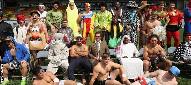 Saracens fancy dress team photo