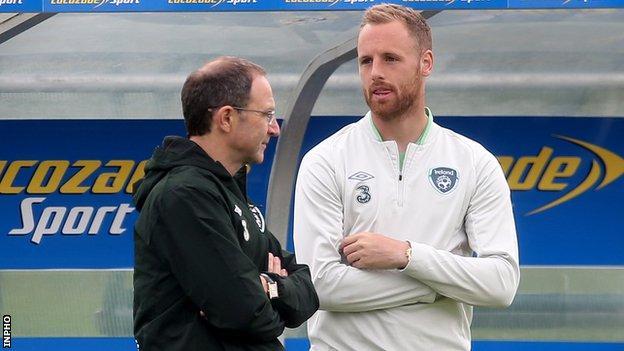 David Meyler with Republic of Ireland manager Martin O'Neill