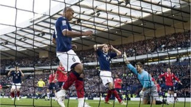 Scotland's Chris Iwelumo missed a glorious chance against Norway