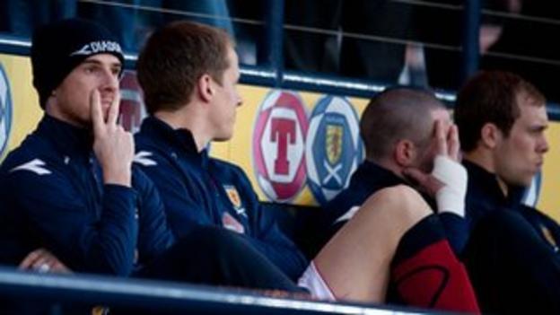 Barry Ferguson and Allan McGregor make V-sign signals to press photographers as Scotland face Iceland