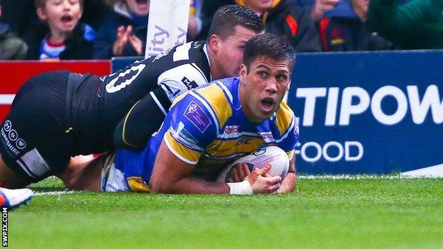 Leeds' Joel Moon scores the opening try against Hull