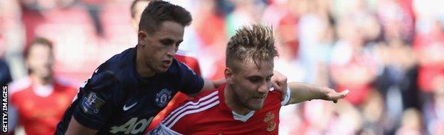 Luke Shaw battles with Manchester United's Adnan Januzaj in a Premier League match in May.