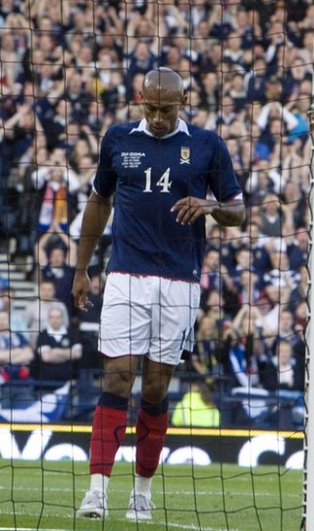 Scotland striker Chris Iwelumo after missing a glorious chance against Norway