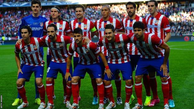 Atletico Madrid team line-up before kick off