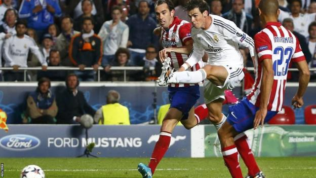 Gareth Bale goes close with a shot towards the end of the second half