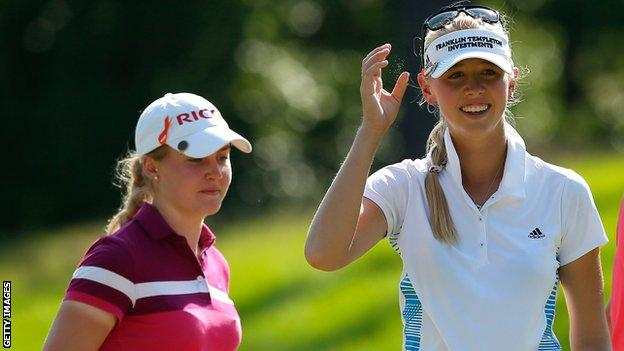 Charley Hull (left ) and Jessica Korda