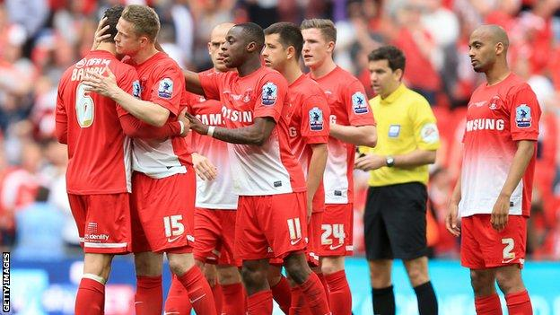 Leyton Orient players after their League One play-off final defeat by Rotherham
