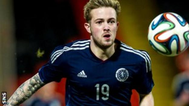 Danny Handling playing for Scotland Under-21s