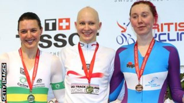 English rider Joanna Rowsell, is flanked by Rebecca Wiasak of Australia and Scotland's Katie Archibald