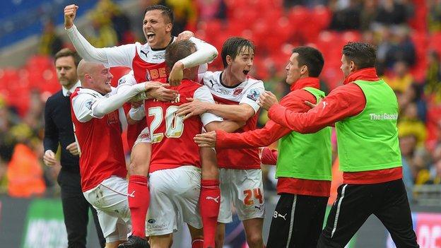 Fleetwood celebrate Antoni Sarcevic's second-half goal