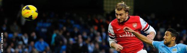 Arsenal striker Nicklas Bendtner