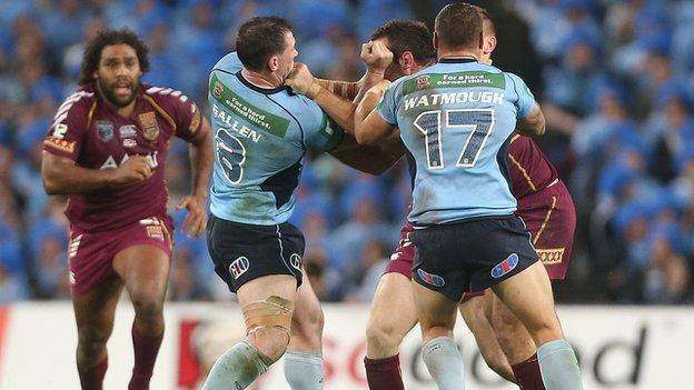 Paul Gallen and Nate Myles go head to head