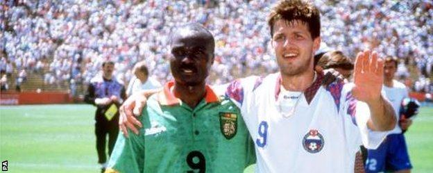Roger Milla and Oleg Salenko pictured after the 1994 game in which they both set World Cup records