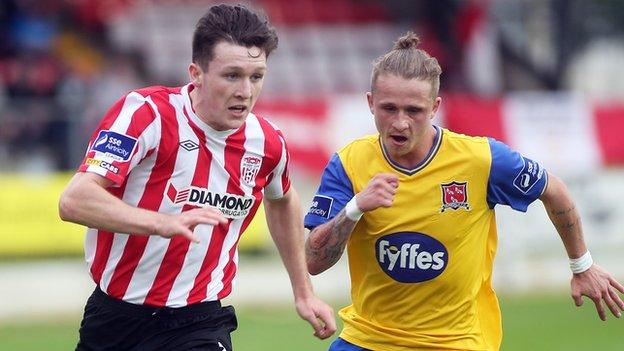 Derry City's Roddy Colins in action against Mark Griffin of Dundalk