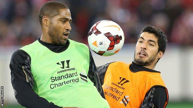Glen Johnson (left) and Luis Suarez training while on Liverpool duty