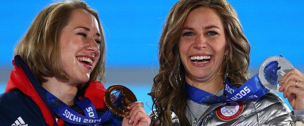 Lizzy Yarnold and Noelle Pikus-Pace