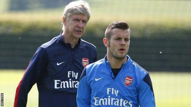Arsene Wenger (l) and Jack Wilshere