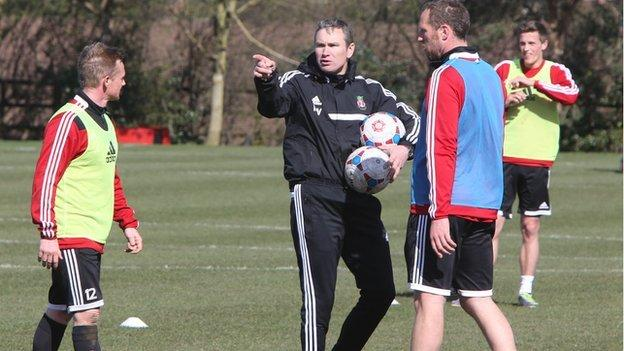 Wrexham manager Kevin Wilkin in training