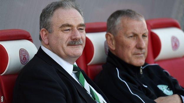 Hibs chairman Rod Petrie and manager Terry Butcher