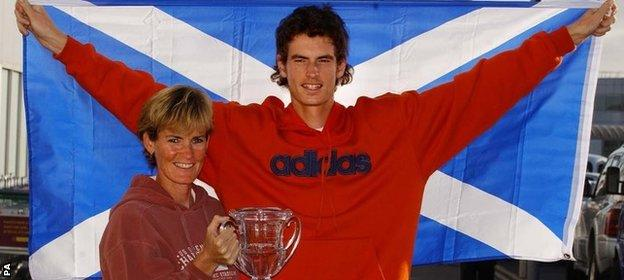 Andy Murray celebrates his triumph in the US Open boys tournament in 2004