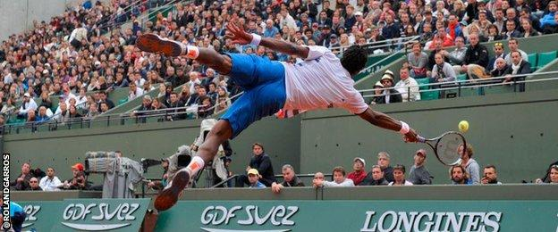 """""""It was not a great dive, you know. I think it was five out of 10. Could be better,"""" says Gael Monfils of this superb picture which was tweeted by the tournament's official account"""