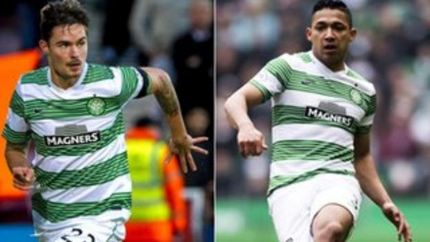 Celtic defenders Mikael Lustig and Emilio Izaguirre