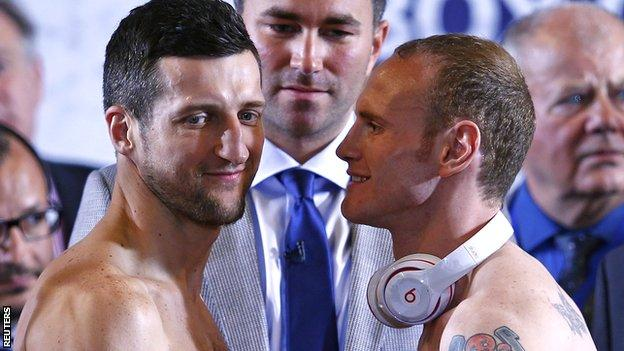 Carl Froch and George Groves at Friday's weigh-in
