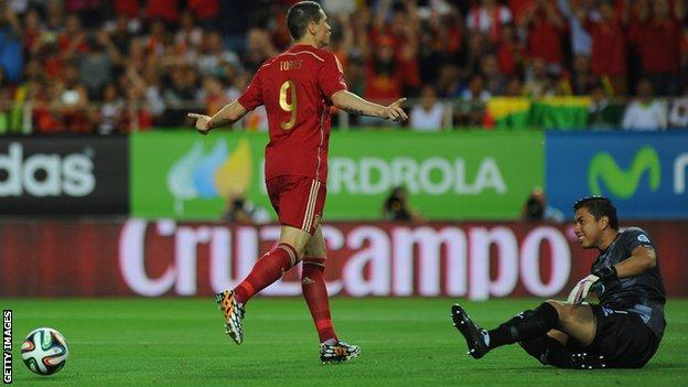 Fernando Torres scores from the penalty spot as Spain beat Bolivia 2-0 in a friendly