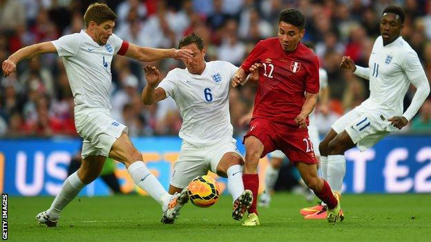 England's Steven Gerrard in action against Peru
