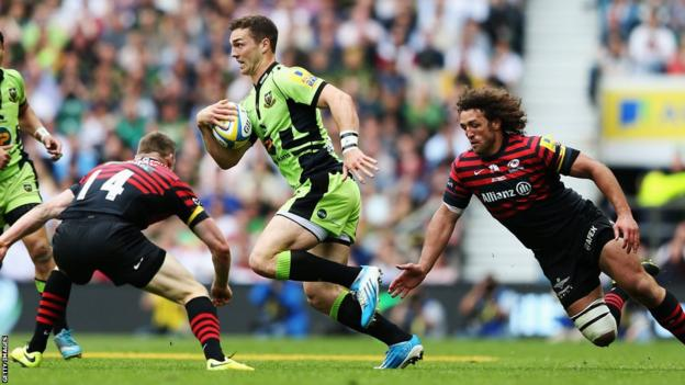 Wales international George North on the attack for Northampton Saints against Saracens in the Aviva Premiership Final at Twickenham.