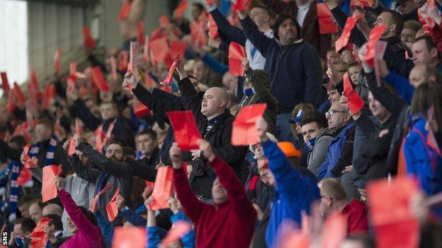 Rangers fans protest against the Ibrox board