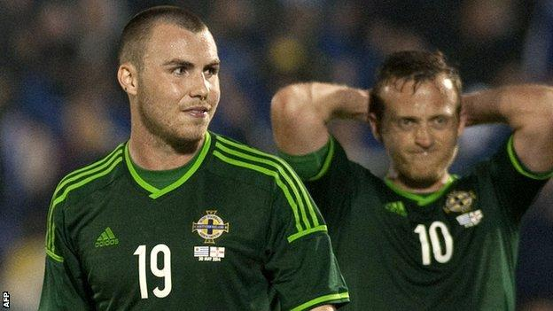 Luke McCullough with Northern Ireland team-mate Sammy Clingan