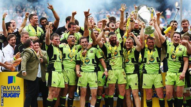 Northampton Saints with the Premiership trophy