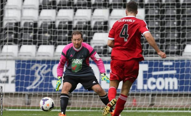 Swansea City chairman Huw Jenkins swapped the boardroom for the pitch for a charity football match at the Liberty Stadium which also featured among others former WBO light-heavyweight champion Nathan Cleverly