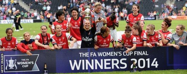Arsenal celebrate winning the FA Cup