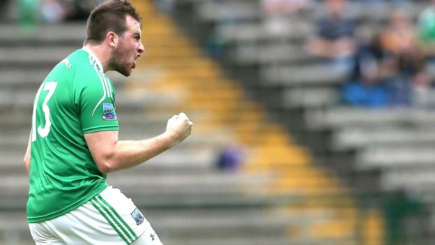 Sean Quigley celebrates his goal which gave Fermanagh hope of a comeback after they trailed Antrim by 12 points in the first half