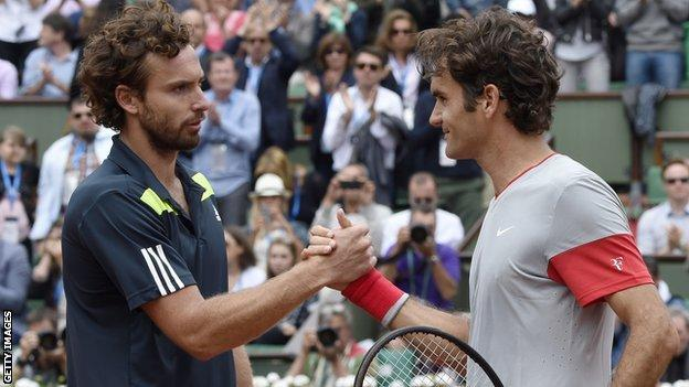 Ernests Gulbis beats Roger Federer