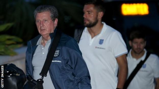 Roy Hodgson arriving at the team hotel