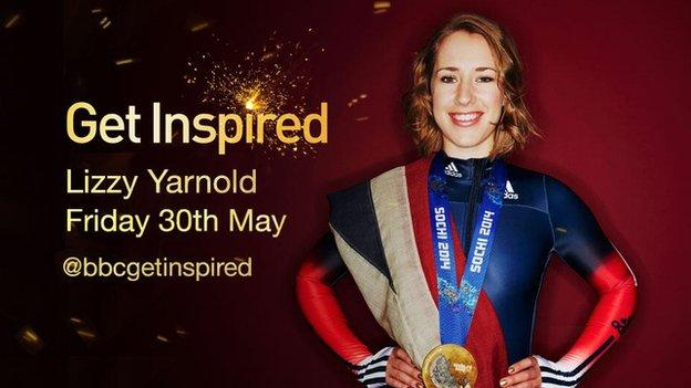 Lizzy Yarnold with her gold medal and a graphic with the details for the take over (Friday 30th May)