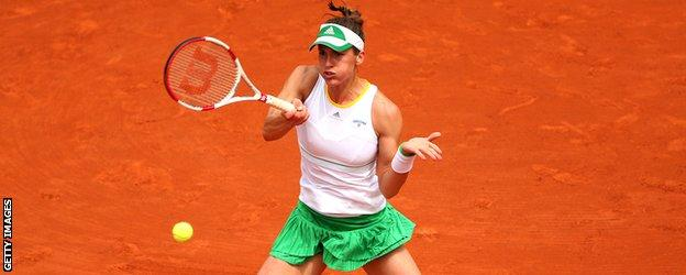 Andrea Petkovic in round four action against Kiki Bertens