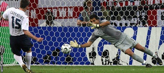 2006 World Cup: England's Jamie Carragher misses a penalty v Portugal