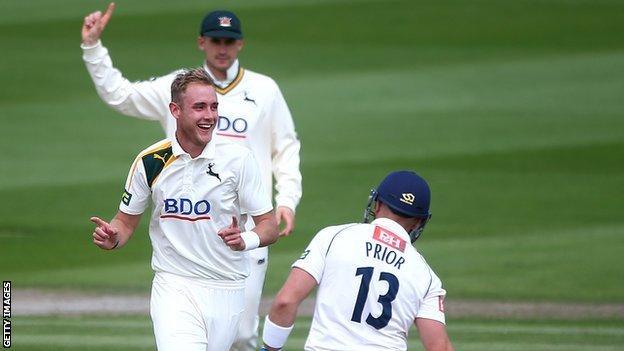 Nottinghamshire's Stuart Broad celebrates the wicket of Sussex's Matt Prior