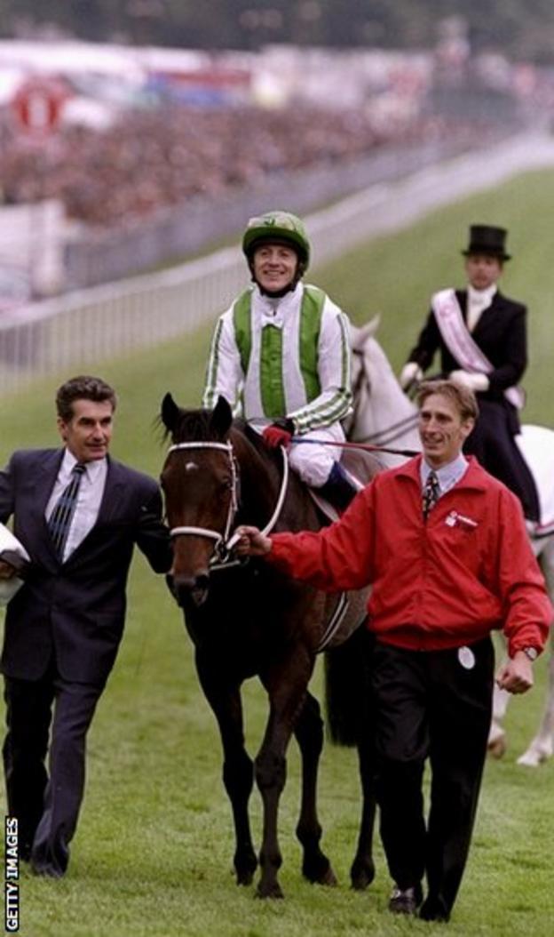 Kieron Fallon after Epsom Derby win in 1999